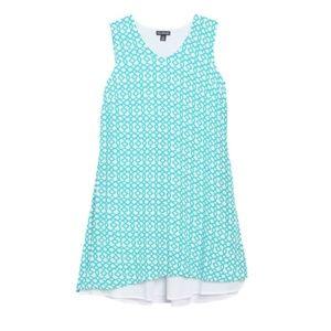 Nina Leonard V-Neck Sleeveless Double Layer Dress